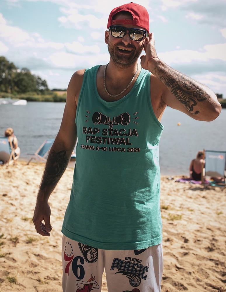 Rap Stacja Festiwal top męski turkus