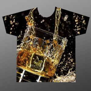 "Koszulka ""Whiskey FullPrint"" czarna [slim]"