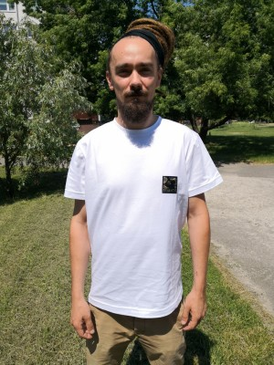"Koszulka ""camo stamp"" biała [slim]"